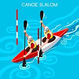 Kayak Slalom Double 2016 Summer Games Isometric 3D Vector Illust