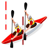 Kayak Slalom Doubles 2016 Sports Isometric 3D Vector Illustratio