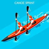 Kayak Sprint Double 2016 Summer Games 3D Vector Illustration