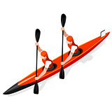 Kayak Sprint Doubles 2016 Sports 3D Vector Illustration
