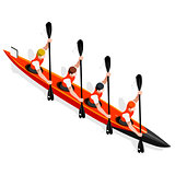 Kayak Sprint Four 2016 Sports 3D Vector Illustration