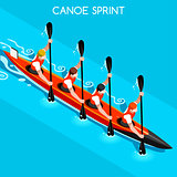 Kayak Sprint Four 2016 Summer Games 3D Vector Illustration