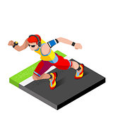 Marathon Runners Fitness Working Out 3D Flat Vector Image