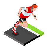 Marathon Runners Fitness Working Out Isometric 3D Vector Image