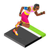 Marathon Runners Fitness Working Out Isometric Vector Image