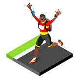 Marathon Runners Running Man 3D Isometric Vector Image