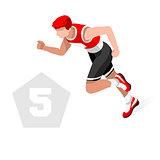Pentathlon 2016 Sports 3D Isometric Vector Illustration