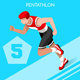 Pentathlon 2016 Summer Games 3D Isometric Vector Illustration
