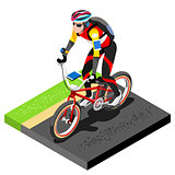Road Cycling Cyclist Working Out 3D Flat Vector Image