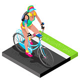 Road Cycling Cyclist Working Out Isometric 3D Vector Illustratio