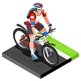 Road Cycling Cyclist Working Out Isometric Vector Image