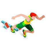 Running 2016 Sports Isometric 3D Vector Illustration