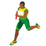 Running Relay 2016 Sports 3D Isometric Vector Illustration