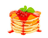 Pancake with red currant sauce and mint