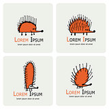 Funny hedgehog, logo set for your design