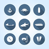 Nautical icons, vector illustration.