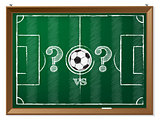 Soccer field with question mark vs question mark