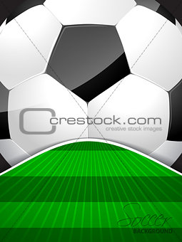 Abstract soccer brochure with ball and bursting field