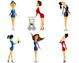 Six stewardess set