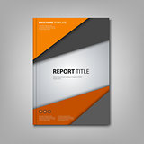 Brochures book or flyer with orange grey triangles template