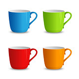 Set of colorful cups on a white background