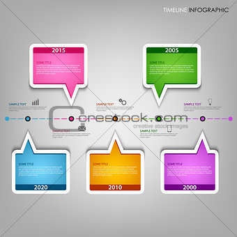 Time line info graphic with design text bubbles template