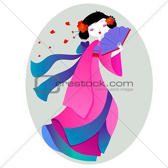 beautiful illustration of a geisha in pink kimono