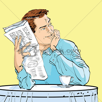man newspaper Breakfast coffee table