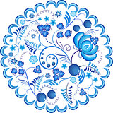 Blue flowers floral russian ornament gzhel frame. Vector illustration. Decorative composition.