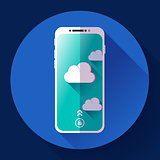 Smartphone flat icon, mobile phone simple vector with clouds.