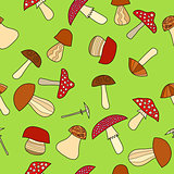 abstract vector doodle mushroom seamless pattern