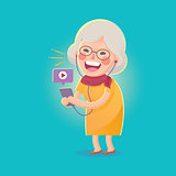 Happy Old Woman Watch Movie From Smart phone