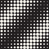 Vector Seamless Black and White Circles Diagonal Gradient Halftone Pattern