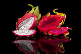 Red and white dragon fruits.