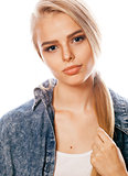 young blond woman on white backgroung gesture thumbs up, isolated emotional posing close up