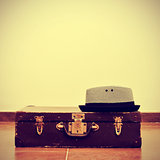 hat and old suitcase