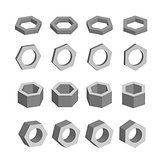Hexagon. Monochrome set of geometric prism shapes, platonic solids, vector illustration