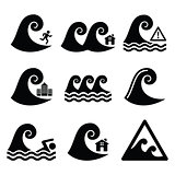 Tsunami, big wave warning, neutral disaster icons set