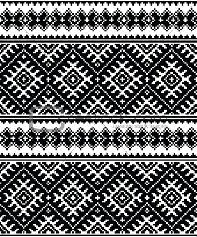 Folk art black seamless pattern from Ukraine and Belarus