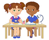 Funny pupils sit on desks read draw clay cartoon illustration