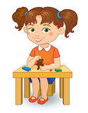 girl making plasticine figures cartoon vector illustration isolated on white background.