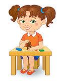 girl making plasticine figures cartoon vector illustration isolated on white background.