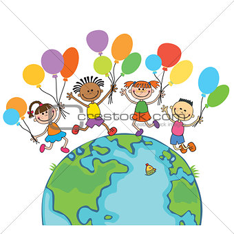 four happy jumping kids round the globe, with balloons isolated background cartoon