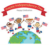 children on American flags banner independence day vector