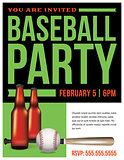 Baseball Party Flyer Template Illustration