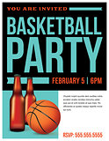 Basketball Party Flyer Template Illustration
