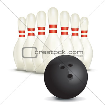 Bowling Ball and Pins Isolated on White