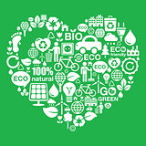 Eco green heart shape background - ecology, recycling concept