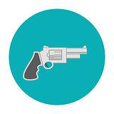 Revolver pistol icon flat