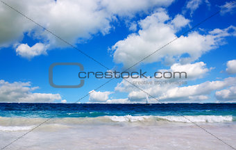 Caribbean sea and cloudy sky.